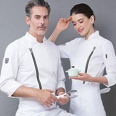 1 zipper stand up collar Chef Uniforms Men Women Food Services Cooking Clothes White Black Uniform Design, Men In Uniform, Work Shirts, Work Wear, Chef Jackets, Unisex, Cooking, Long Sleeve, Model