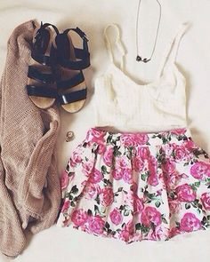 | White Bustier | Pink Floral Shorts | Creme Knit Cardigan | Black Sandals |