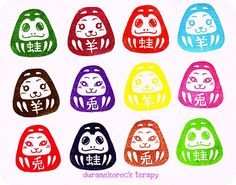 謹賀新年♪スモールはんこ ミーコダルマの巻 small stamp Mei, Sotaro and Mieko daruma