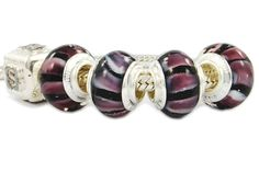 glass beads in purple on white stripes.