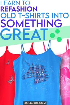 Looking for easy DIY t-shirt refashion projects? There are many ways to transform plain tops into fun, stylish new pieces. I see that t-shirt refashion ideas are very popular lately and here are Sewing For Beginners Diy, Easy Sewing Projects, Sewing Tutorials, Sewing Crafts, Sewing Hems, Sewing Clothes, Shirt Refashion, T Shirt Diy, Diy Tank