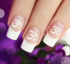 OM Symbol NAIL Art in WHITE (OMW) Yoga Meditation