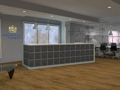 Bluestone tiled desk with wooden floor boards creates a beautiful reception in an open plan office space. Reception Areas, Wooden Flooring, Open Plan, Boards, Desk, How To Plan, Space, Storage, Projects