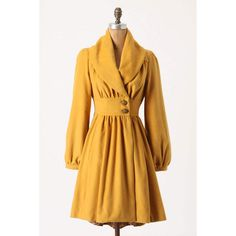 """Ruched Marigold Coat -- The sleeves?  And maybe the collar.  This is too """"puffy"""" feeling overall.  I like the general cut, though - especially that waistband - and I like the color."""