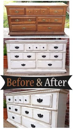 Dresser in Distressed Off White with Tobacco Glaze Before & After Distressed Furniture Distressed Dresser Glaze Tobacco White White Distressed Dresser, Distressed Bedroom Furniture, Wood Bedroom, Painting Furniture White, Painted Furniture, White Painted Dressers, Redoing Furniture, Dresser Furniture, White Furniture