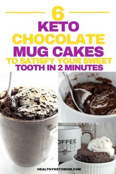 Are you craving something sweet and chocolatey like right now?! Try one of these delicious and easy keto chocolate mug cake recipes to curb your hunger for something sweet and absolutely delicious right now. All of these mug cakes are low carb and won't break your ketogenic diet! They also can be made in a microwave. #ketomugcake #ketolavacake #lowcarbmugcake #chocolatemugcake #ketodesserts