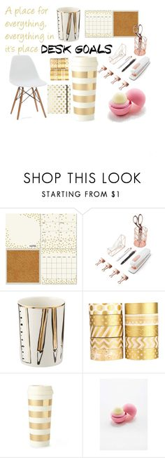 """Desk Goals: Simply Gold"" by balletgrace ❤ liked on Polyvore featuring interior, interiors, interior design, home, home decor, interior decorating, Wall Pops!, U Brands, Kate Spade and Eos"