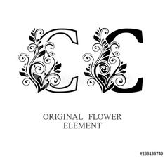 Elegant initial letters C in two color variations with botanical element. Alphabet label sign for company branding and identity.Unique concept type as logotype - Buy this stock vector and explore similar vectors at Letter Monogram, Letter C, Letter Logo, Logo Design Template, 30th, Initials, Adobe, Alphabet, Identity