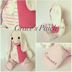 Keepsake Dotty the Rabbit made using baby's first clothes and fished with hand embroidered name on the feet.