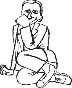 498GA - Graphic illustration of a contemplative man