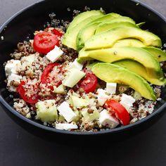 Salade de quinoa, lentille, avocat, tomate, concombre et feta | Petits Papiers