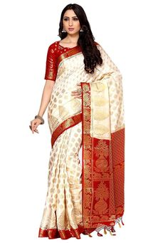 Art Silk Saree in Off White Elegantly Woven with Zari in Traditional and Floral Motifs Available with an Unstitched Art Silk Blouse in Red Free Services: Fall and Edging (Pico) Do note: Accessories shown in the image are for presentation purposes only.(Slight variation in actual color vs. image is possible).