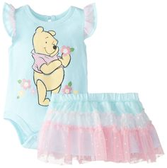 Disney Baby-Girls Newborn Winnie The Pooh Creeper with Skirt, Blue, 3-6 Months