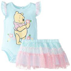 Disney Baby-Girls Newborn Winnie The Pooh Creeper with Skirt, Blue, 3-6 Months