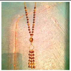 """Wire wrapped Pyrite and Smokey Topaz Nugget on 14kt gold filled small chain Tassel Necklace, 32"""""""