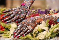 Different Colors Back Hand Mehndi Design