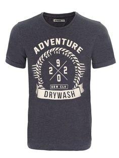 t-shirt krótki rękaw męski z nadrukiem ciemnoszary, jasnoszary - DPO0192 DRYWASH