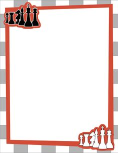 Chess page border with black and white chess pieces. Free downloads at http://pageborders.org/download/chess-border/