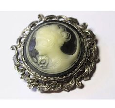 Large Round Vintage Victorian Revival Black & White Cameo in Silvertone scrolled framing Brooch Pin Victorian Jewelry, Vintage Jewelry, Amethyst Birthstone, Cameo Jewelry, Jewellery, Black Jewelry, Vintage Brooches, Clip On Earrings, Brooch Pin