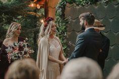 The wedding vows. Sunset ceremony. Haliburton wedding photography. Rustic country wedding.