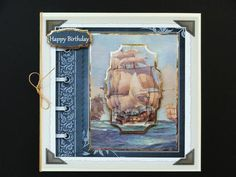 Sailing the ocean card with shaped layers on Craftsuprint designed by Angela Wake - made by Valerie Spowart -