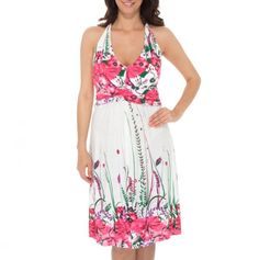 V-Neck Halter Printed Dress - Printed Fashions for Mom - Events