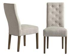 Birdie Spisebordsstol - Flot spisebordsstol med et lyst cremefarvet betræk i hør og gråtonede træben, som giver stolen et feminint og romantisk look. Stoen er med en behagelig høj ryg og et dejligt polstret sæde, der giver øget siddekomfort.