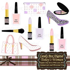 Feminine clipart / fashion clipart / makeup by CandyBoxDigital, $4.00
