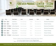 Forever Product Center - Tecom TRAINING SCHEDULE July 2016