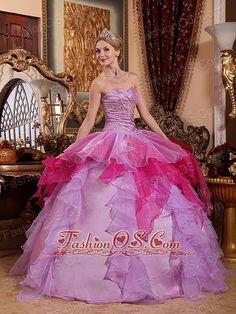 Affordable Lavender  Quinceanera Dress Sweetheart Organza Beading fashionos.com