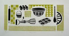'Baking day ( green )' - lino print - Jan Brewerton