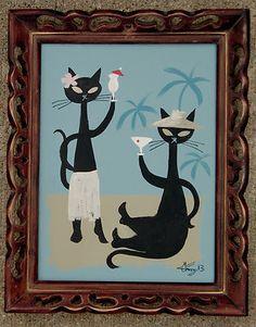 El Gato Gomez Painting Mid Century Modern Retro Tiki Cat Martini Cocktail 1950s | eBay..