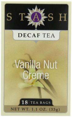 Stash Premium Decaf Vanilla Nut Creme Tea Bags 18-Count Boxes (Pack of 6) is a deliciously smooth, full-bodied black tea with a rich vanilla nut aroma and flavor. Stash blends premium, naturally decaffeinated black teas, sarsaparilla and the best, all-natural vanilla nut flavor.