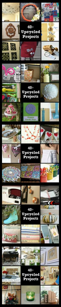 Over 40 upcycled and recycled projects to do-perfect for Earth Day! Pin now, read later!