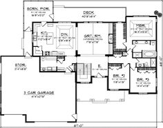 Craftsman Style House Plans - 2346 Square Foot Home , 1 Story, 3 Bedroom and 2 Bath, 3 Garage Stalls by Monster House Plans - Plan Craftsman Style House Plans, Ranch House Plans, New House Plans, House Floor Plans, Rambler House Plans, Craftsman Houses, Estilo Craftsman, Craftsman Ranch, Master Suite