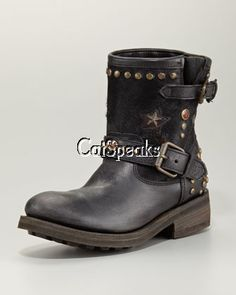 ASH STUDDED LEATHER CALF HAIR MOTOCYCLE BOOTS - yummmmmm saw these all over france