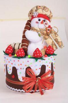 torta nieve  fleese,leñera paño lency Mary Christmas, Christmas Time, Christmas Crafts, Christmas Decorations, Xmas, Christmas Ornaments, Holiday Decor, Snowman Crafts, Felt Crafts