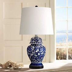 Blue and White Porcelain Temple Jar Table Lamp - #R2462 | Lamps Plus