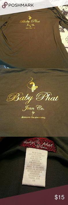 Baby Phat shirt with peek a boo arm detail Olive green shirt by baby phat with peek a boo arm detail. Baby Phat Tops Blouses