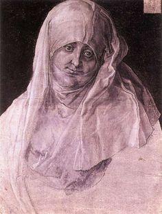 Agnes Dürer as St Anne. Durer. 1519. Brush on gray primed paper. 395 x 292 mm. Graphische Sammlung Albertina. Vienna.