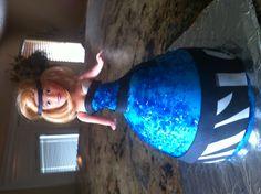 Melanie's Birthday cake. Blue fondant (wiltons fondant recipe) black gumpaste.