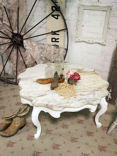 Painted Cottage Chic Shabby White Marble Coffee by paintedcottages, $265.00