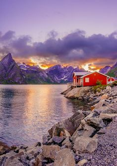 Red hut in the midnight sun (Lofoten Islands, Norway) by Dmytro Korol on 500px