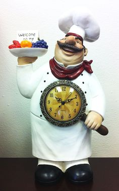 Fat Chef Kitchen Clock Decoration Table Top Art Statue Bistro Cooking 64222 ** Check out this great product. (This is an affiliate link and I receive a commission for the sales)
