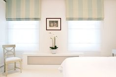 Shawfield Street, Chelsea by Ardesia Design.  #roman #blinds #stripes #radiator #cover