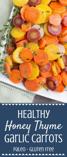 Looking for a simple, yummy way to cook carrots? Try this Honey Thyme Garlic Carrots Recipe! Paleo, gluten free, and full of flavor, this is an easy, healthy side dish everyone will love! #healthy #easter Perfect for a healthy easter side dish, or a yummy spring side dish! | paleo | gluten free | healthy side dish | healthy carrot recipe |