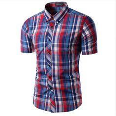 2017 nueva llegada hombres camisa camisas soical maseulina camisa de manga  corta a cuadros de moda casual camisa masculina chemise homme en Camisas  casuales ... 2d58cae35e0d