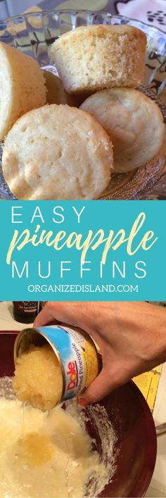 These quick Pineapple Muffins remind me of being in a tropical place. So easy to make and great any time of day!