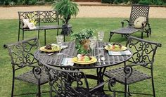 Veracruz - Patio Collections - Three Coins Cast Outdoor Gardens, Indoor Outdoor, Outdoor Decor, Cast Iron, It Cast, 3 Piece Dining Set, Garden Paths, Outdoor Furniture Sets, Patio