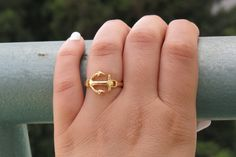 Gold ring  Anchor gold ring Anchor Jewelry by RomisJewelry on Etsy, $15.00